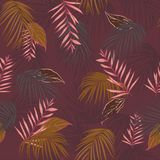 Vintage Exotic tropical vector background with hawaiian plants a. Nd flowers. Seamless summer bright tropical pattern with monstera and sabal palm leaves, on Stock Images