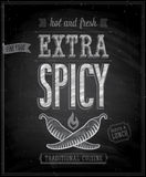 Vintage Extra Spicy Poster - Chalkboard. Vector illustration Stock Photography
