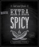 Vintage Extra Spicy Poster - Chalkboard. Vector illustration vector illustration