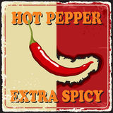 Vintage extra spicy poster chili pepper. Vector Stock Photography