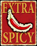 Vintage extra spicy poster. Vector illustration. Royalty Free Stock Images