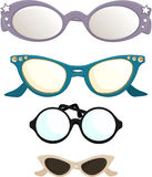 Vintage eye-wear. 4 different vintage eye glasses with gems and stars stock illustration