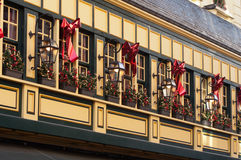 Vintage façade with Christmas decoration. A vintage styled building façade with some Christmas decorations Stock Image