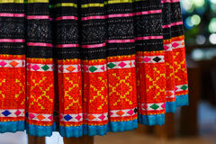 Vintage fabric - Colorful Thailand style rug surface close up vintage fabric is made of hand-woven cotton fabric . Royalty Free Stock Images