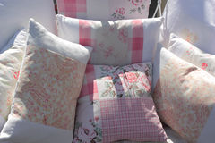 Vintage Fabric Cushions Stock Photography