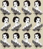 Vintage fabric design with a flapper girl 20`s style. Fashion illustration. Royalty Free Stock Photos