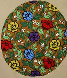 Vintage fabric textile floral pattern of bright flowers and leaves royalty free illustration