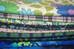 Vintage Fabrics Blue Prints Stock Photos