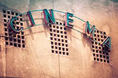 Vintage Facade of old cinema in Bucharest Romania, with cinema w Royalty Free Stock Images