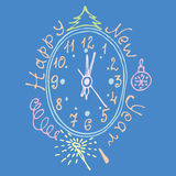 Vintage face the new year with ornaments vector illustration Royalty Free Stock Images