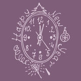 Vintage face the new year with ornaments vector illustration Royalty Free Stock Image