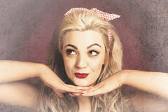 Vintage face of nostalgia. Retro blond 1940s girl Royalty Free Stock Photography