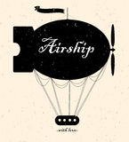 Vintage fairy airship.Vector silhouette Stock Photo