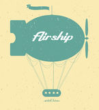 Vintage fairy airship. Vector silhouette Royalty Free Stock Image