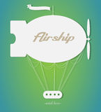 Vintage fairy airship. Vector silhouette. Paper art Stock Photography