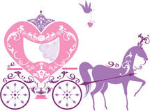 Vintage fairytale horse carriage isolated Stock Photos