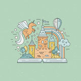 Vintage Fairytale. Fairytale illustration with open book and magic elements. Castle, balloon, rainbow, unicorn made in modern linear style vector. Imagination Royalty Free Stock Images