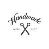 Vintage fait main de logo d'atelier Images stock