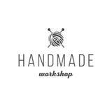 Vintage fait main de logo d'atelier Image stock