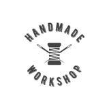 Vintage fait main de logo d'atelier Images libres de droits