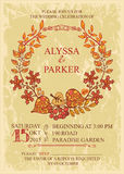 Vintage fall wedding invitation with leaves wreath. Retro wedding invitation with autumn leaves.Vector design template Royalty Free Stock Photography