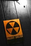 Vintage Fallout Nuclear Bomb Shelter Sign. Vintage Cold War era civil defense emergency fallout nuclear bomb shelter sign Stock Photography