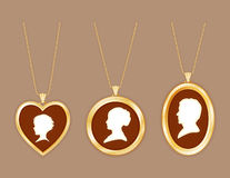Vintage Family Cameos, Gold Lockets And Chains Stock Image