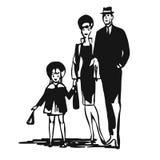 Vintage Family walk leisure time Stock Image