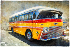 Vintage famous busses of Malta. Picture in retro style Royalty Free Stock Photos