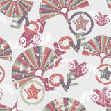 Vintage fans. Pattern with colorful vintage oldfashen fans Stock Image