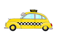 Vintage fantasy yellow cab Royalty Free Stock Image