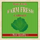 Vintage farm fresh cabbage poster Royalty Free Stock Photo