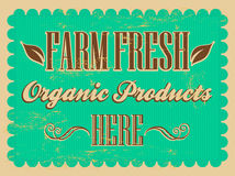 Vintage Farm Fresh - organic products Poster Stock Image