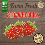 Vintage farm fresh strawberries poster Stock Photo