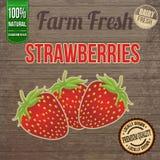 Vintage farm fresh strawberries poster Stock Photo