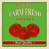 Vintage farm fresh tomatoes poster Stock Photo