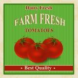 Vintage farm fresh tomatoes poster Stock Photo