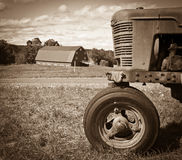 Free Vintage Farm Landscape With Tractor And Barn Royalty Free Stock Image - 21261946