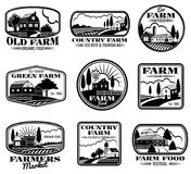 Vintage farm marketing vector logos and labels set Royalty Free Stock Photo