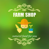 Vintage farm shop badge Royalty Free Stock Photography