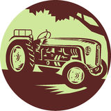 Vintage Farm Tractor Circle Woodcut Royalty Free Stock Photography