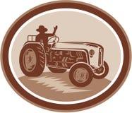Vintage Farm Tractor Driver Waving Circle Retro Royalty Free Stock Photos