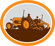 Vintage Farm Tractor Farmer Plowing Oval Retro Stock Images