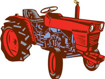 Vintage Farm Tractor Side Woodcut Royalty Free Stock Photos