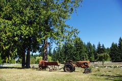 Rural Life. Vintage farm tractor and wagon in a field in summer sun Stock Photo