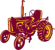 Vintage Farm Tractor Woodcut Stock Images