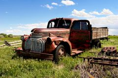 Vintage farm truck. What i believe to be a chevy '46 royalty free stock images