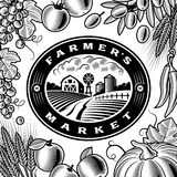 Vintage Farmers Market Label Black And White Stock Images