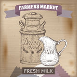 Vintage farmers market label with metal milk can and pitcher. Stock Photo