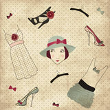 Vintage fashion boutique set. For women Royalty Free Stock Photos